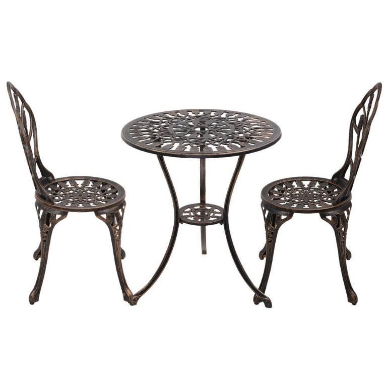 Gardeon 3PC Outdoor Setting Cast Aluminium Bistro Table Chair Patio Bronze