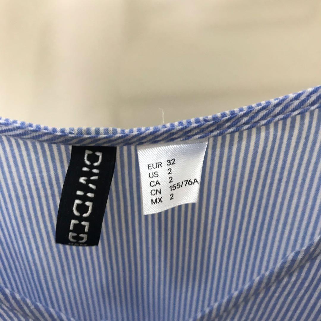 H&M Blue + White Strip Shoulder Top