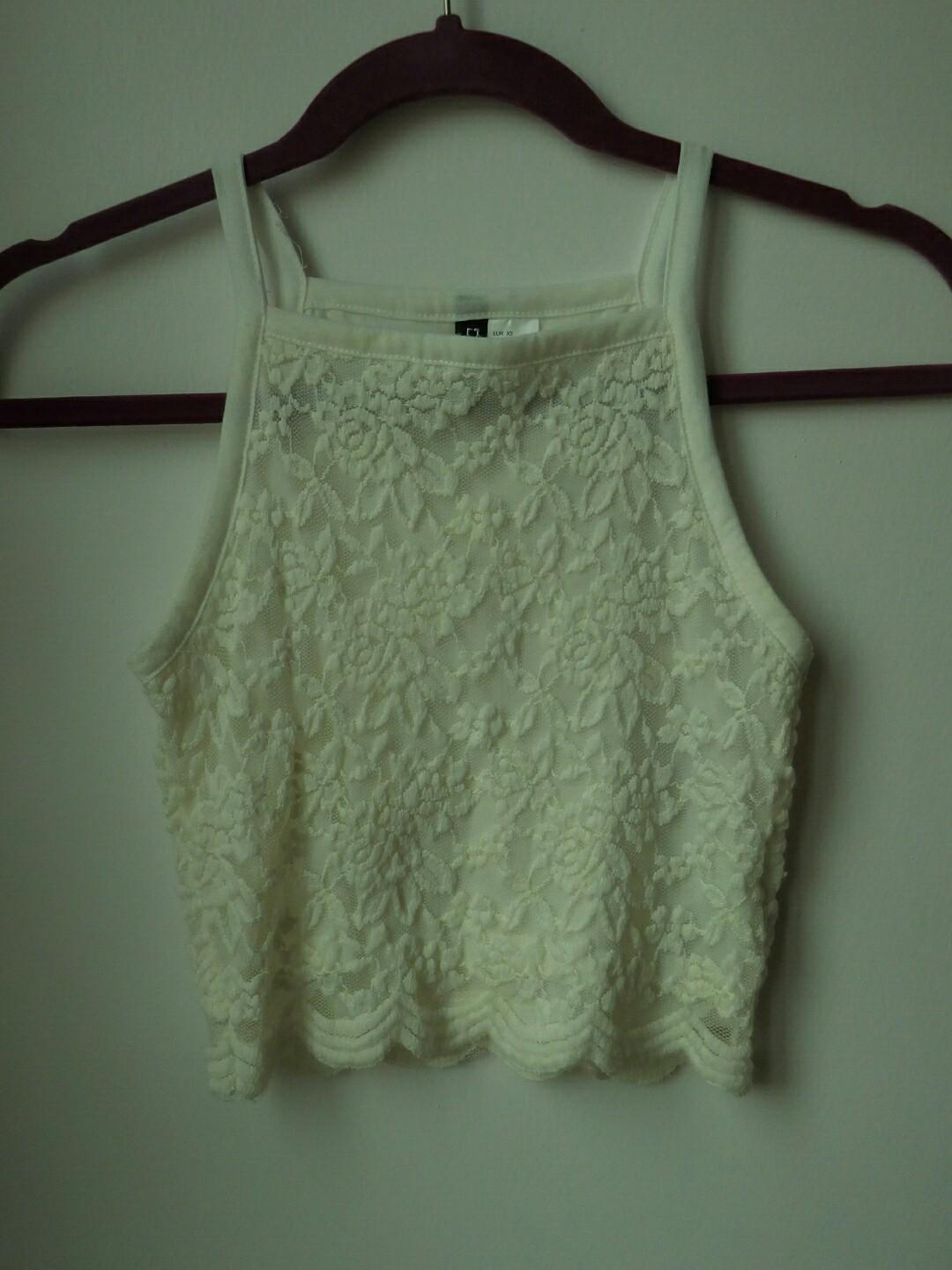 H&M Divided White Lace Top #PayDay80