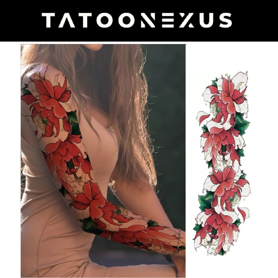Sexy Watercolor Lotus Flower Temporary Tattoo Stickers Girls Full Leg Body Art Tattoo Women Beach Arm Flash Fake Tatto Shoulder Design Craft Art Prints On Carousell