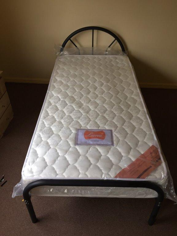 Single Bed Metal Frame 6 Legs with single mattress $190 ONLY!!