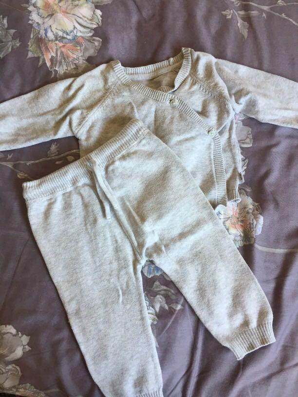 Three pre loved baby pants and top sets size 00 (3-6 months)