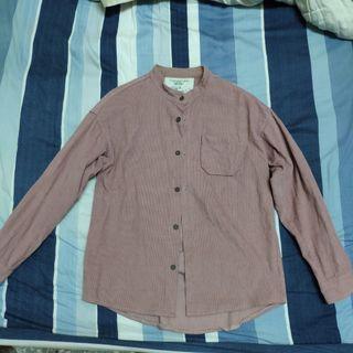 燈心絨 立領 珊瑚粉 粉色 襯衫 外套