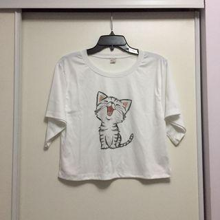 Cropped T-Shirt with Cute Kitty Print (Size Small)