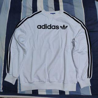Adidas 三線 logo 大學t 長袖 t恤 純白 高領