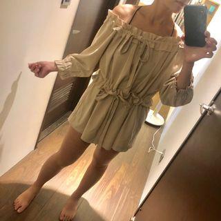杏色雙蝴蝶結不挑身型七分袖洋裝