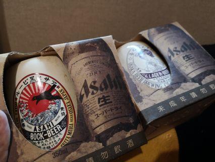 Asahi beer 紀念版 日本風格 陶瓷杯 兩個一組