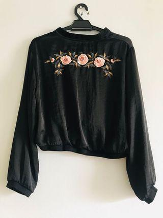 Authentic zara basic  embroidery silk top