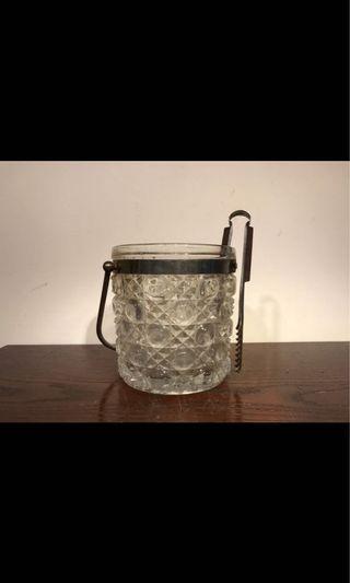 玻璃雕花冰桶(附夾及隔水架)