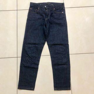 Uniqlo 深藍軟牛仔布七分褲