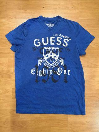 Guess Blue V Neck T-Shirt (with minor defect)