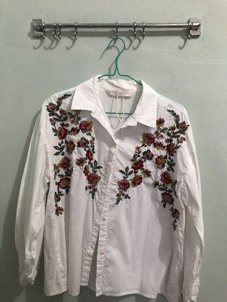 Zara Embroidered White Shirt