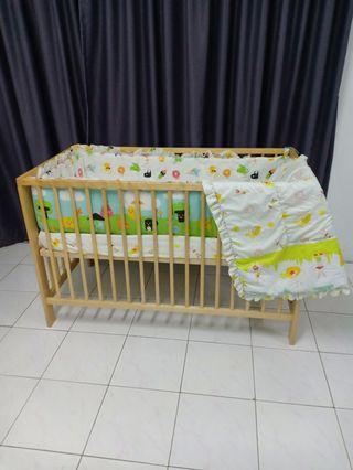 All in 300 RM ,Ikea  cot guliver with matress, full beding set (bumper set , comforter, bed)