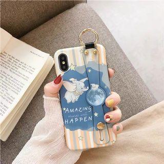 蘋果卡通小飛象腕帶手機殼-iPhone X/XS