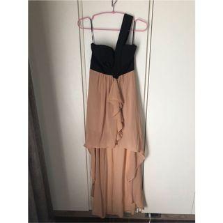平口洋裝前短後長斜肩晚宴服