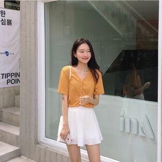 正韓製素色百褶褲裙 skirt ( mixxmix ) 雪紡 後鬆緊 安全褲