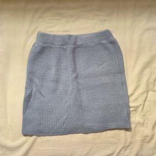 水藍針織高腰短裙 #五折清衣櫃