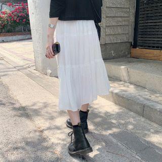 抓皺感層次長裙 skirt ( dejou ) 飄逸 鬆緊 透膚