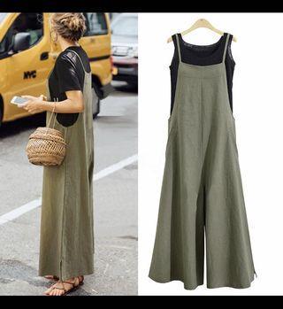 Linen/ Cotton Wide Leg Jumpsuit