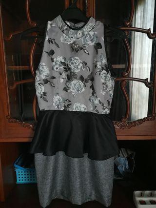 Wisteria black white flower peplum dress
