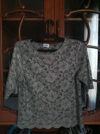 Silver lace top