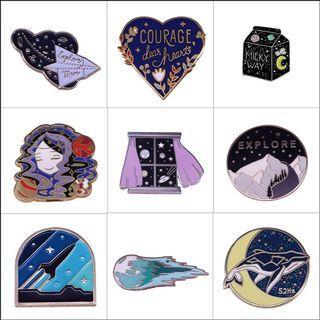 Enamel pin - bts whalien, book, bookish, witch, emo, dreamer, star, moon, celestial