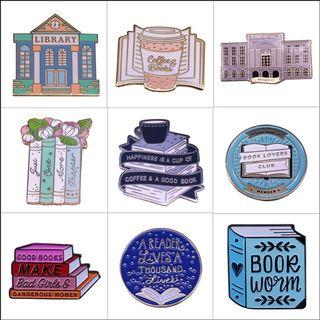 Enamel pin - book, bookish, witch, magic, hardcover, hardback, hard cover, tea, coffee, library, bookworm