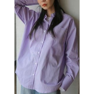 正韓製純棉素色長袖襯衫 shirt ( black-up ) 上衣 寬鬆 外套