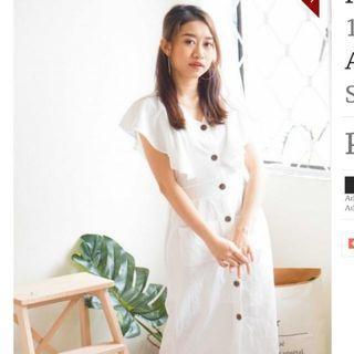 BASH Soft Affection Button Down Dress  (White Ruffle Button Down Dress)