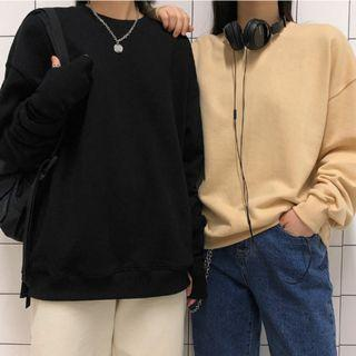 正韓製純棉素色長袖上衣 tee ( black-up ) 大學T 寬鬆 落肩 圓領T恤