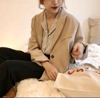 韓國歐膩 秋季 條紋襯衫