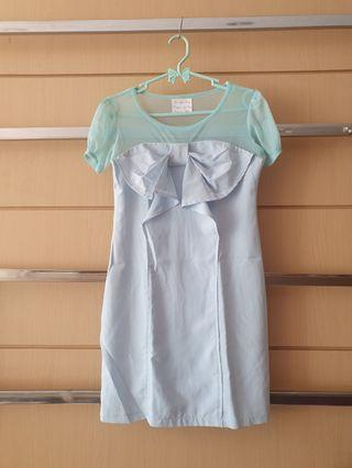 Imported Baby Blue Front Draped Bow Shift Dress