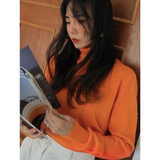 羊毛10%正韓製百搭12色高領長袖針織上衣 knit ( black-up ) 素色 T恤