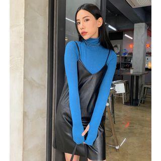 正韓製皮質細肩帶洋裝 dress ( black-up ) 短裙 連身裙 無袖