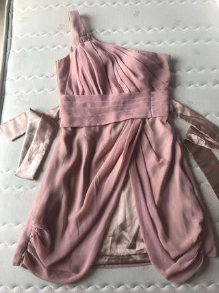 One shoulder nude peach dress size S with zip party pesta