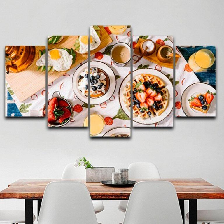 5 Panel Delicious Foods Canvas Prints for Dining Canvas Art