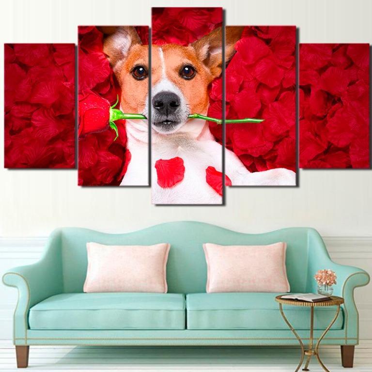 5 Panel Dog Holding a Rose Canvas Prints Canvas Art😊
