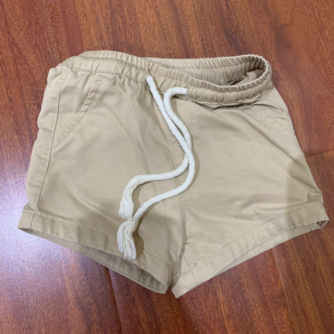 男寶寶抽繩短褲-卡其66碼