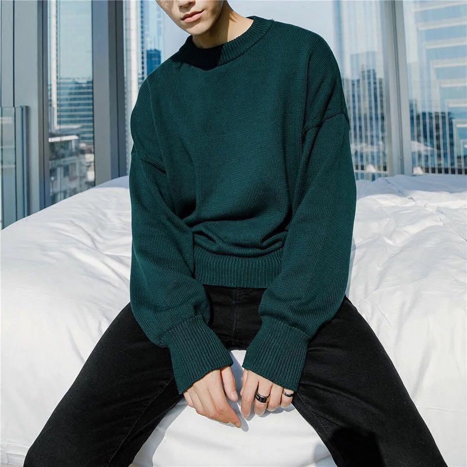 韓國圆领套头毛衣男韩版宽松毛线衣针织衫男打底衫