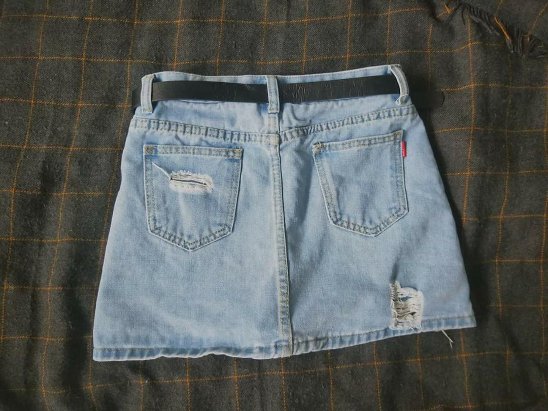 牛仔褲裙 含腰帶