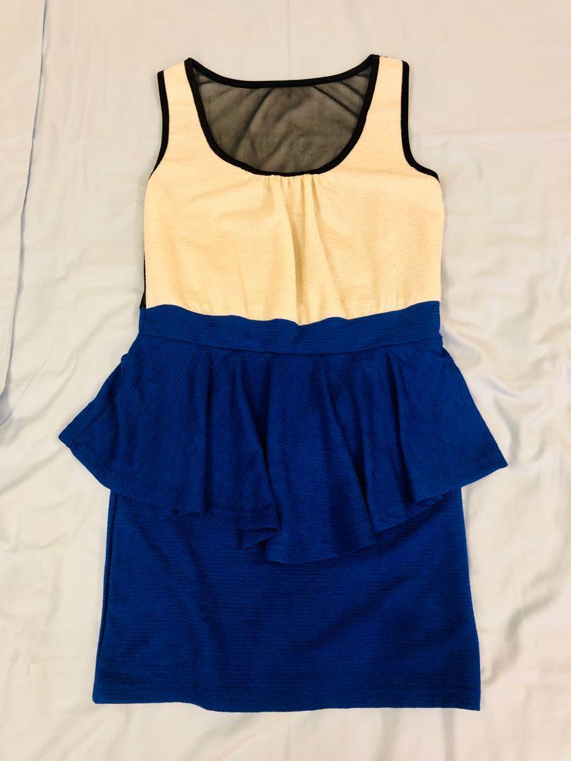 藍白洋裝小禮服 蕾絲露背