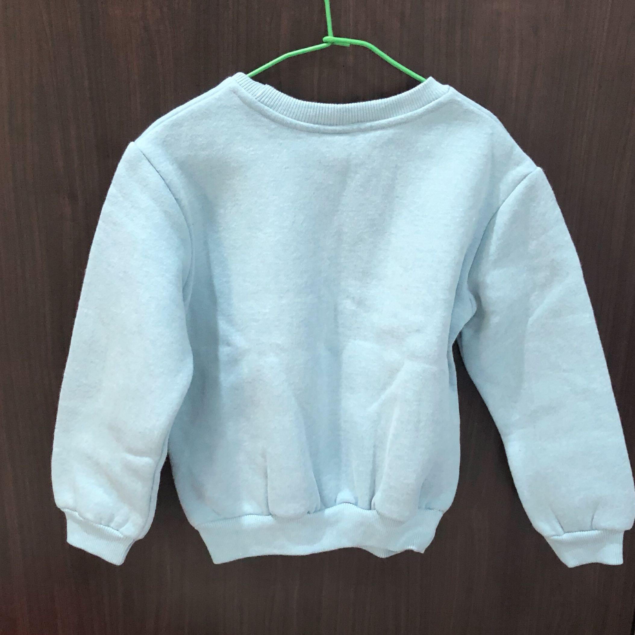 【全新】韓版 棉質 藍色 圓領刷毛長袖上衣 9號