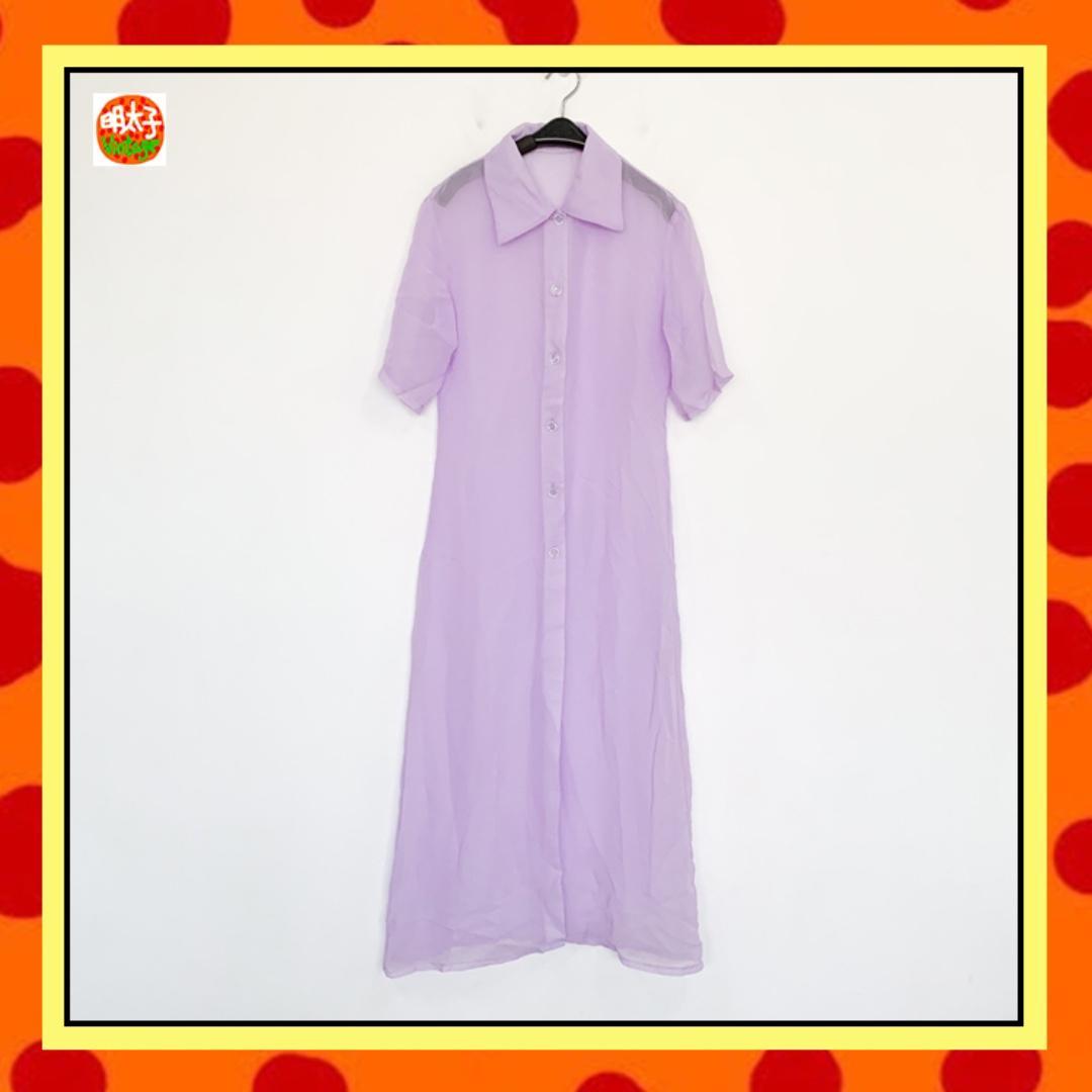 二手 紫色 透明 短袖 飄逸 排扣 洋裝式 罩衫 明太子 B926
