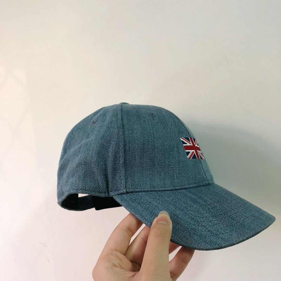潮牌✨全新 英國國旗圖案牛仔帆布復古老帽 水洗丹寧 男女size