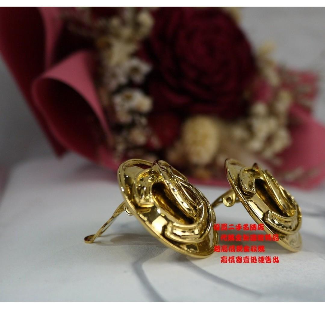 優買二手名牌店 CHANEL 金色 金屬 老香 圓圈 鈕釦 大雙C 立體 扭轉 復古 古著 夾式 耳環 墬子 超新美品