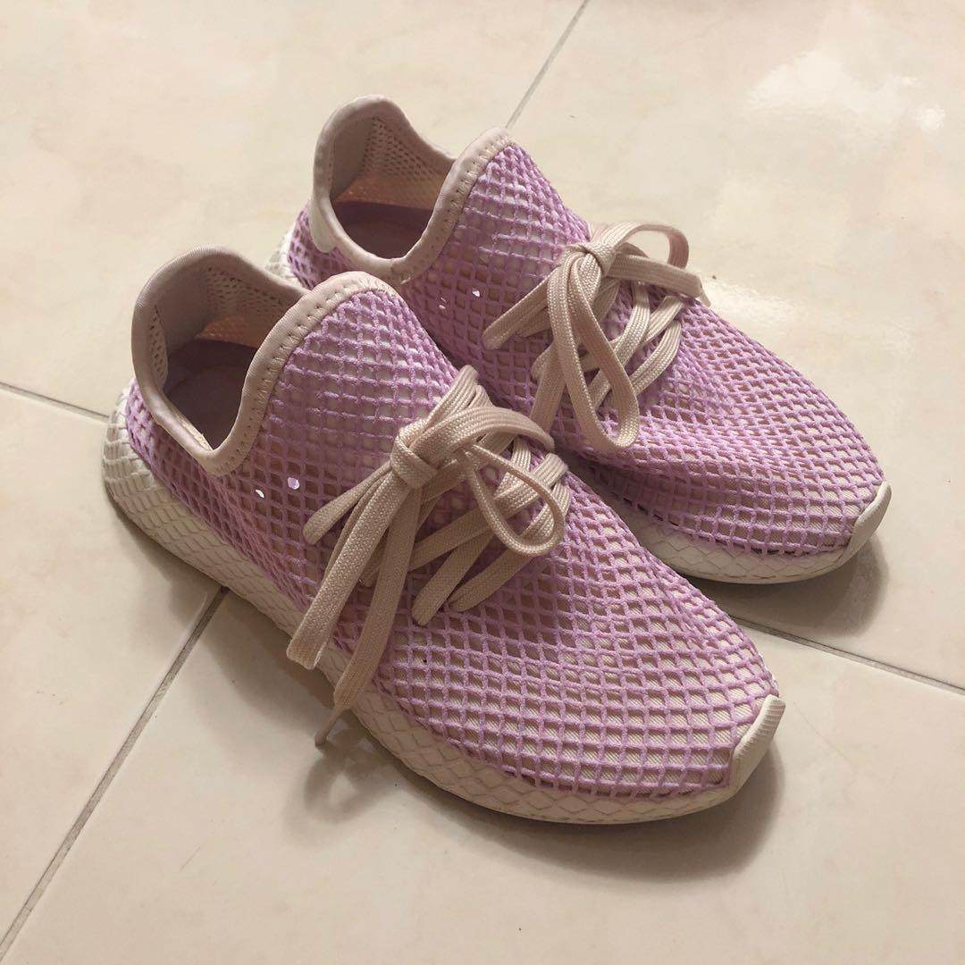 非常新!adidas DEERUPT W 粉紫色