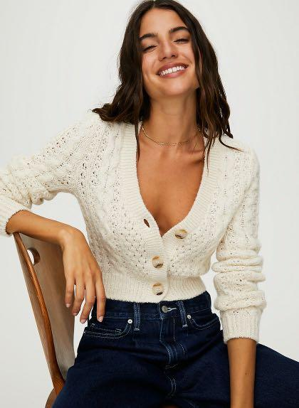 Aritzia Wilfred Adley Cardigan Sweater Clay Colour Size XS