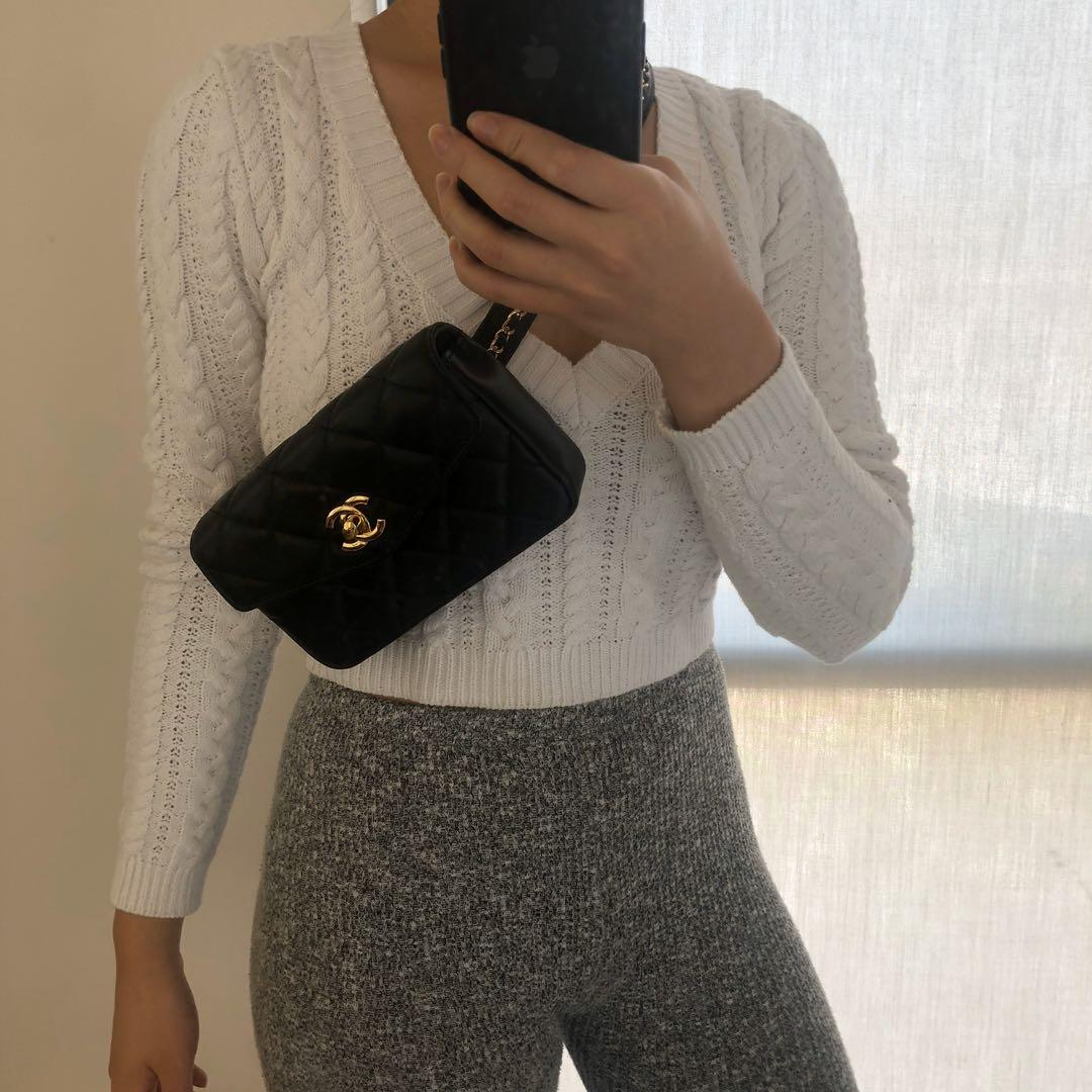 Authentic Vintage Chanel belt bag lambskin