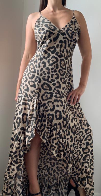BOOHOO Leopard Animal Print Ruffle Maxi Dress Sz AU 14
