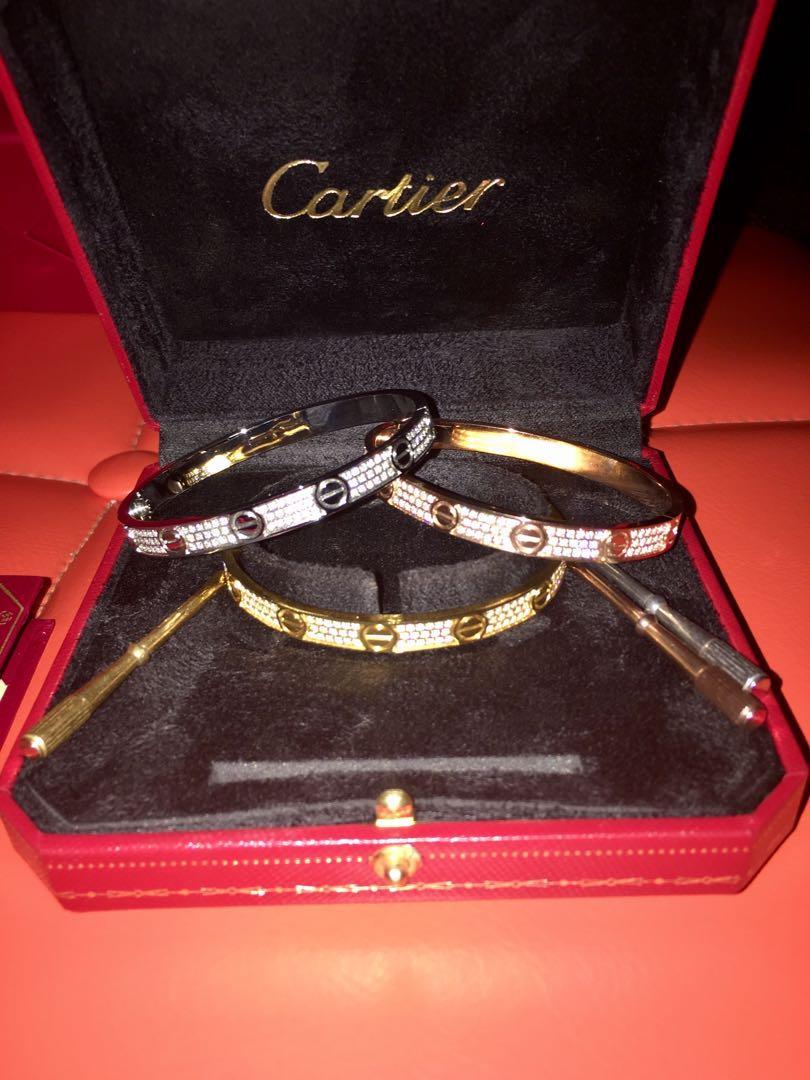CARTIER LOVE BRACELETS SWAROVSKI CRYSTALS((18K)) 19 CM UNISEX